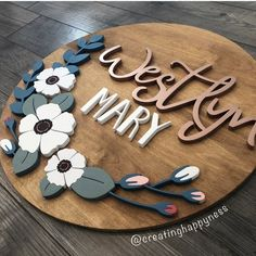 Newest Floral Design Cute Baby Names, Unique Baby Names, Baby Girl Names, Wood Name Sign, Wood Names, Laser Cutter Projects, Wood Stain Colors, Baby Name Signs, Laser Cut Wood