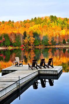 Wooden dock on autumn lake stock photo. Image of forest - 9904550 Wooden dock on autumn lake. Lake Dock, Boat Dock, Lake Beach, Autumn Lake, Autumn Scenery, Lakeside Living, Lakefront Property, Lake Cabins, Lake George