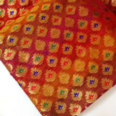 Indian Silk Fabric Multi Color Small Paisley Motif by DesiFabrics