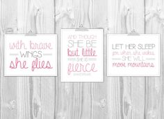 Girl's Nursery Prints - Set of 3 prints -  She Is Fierce, Let Her Sleep, With Brave WIngs - Modern Pink & Gray Girl's Bedroom Typography on Etsy, $15.00 Shared Rooms, Move Mountains, Girl Nursery, Girls Bedroom, Nursery Modern, 2nd Floor, Big Girl Rooms, Nursery Prints, Kid Spaces