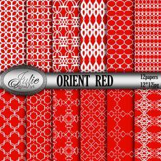 Red Digital Paper Orient damask pattern bright от JulieDigitalArt