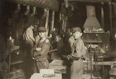 """Glassworks. Midnight. Location: Indiana"" 1908 Photo"