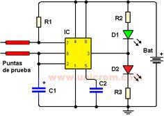Sensor de humedad (Diagrama+video) - 1 CI 555 - 3 resistencias (R1, R2, R3) de 1K - 1 capacitor (condensador) (C2) de 0.1uF - 1 condensador (capacitor) electrolítico (C1) de 10uF - 2 diodos LED. Uno rojo y uno verde - 1 bateria cuadrada de 9 voltios