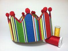 Striped Birthday Boy Crown  Adjustable Fabric by littlehbigstyle, $20.00 for big brother
