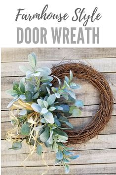 Lambs Ear Eucalyptus Farmhouse Door Wreath - Wreath Great for All Year Round - Everyday Burlap Wreath, Door Wreath, Wedding Wreath--This beautiful lambs ear eucalyptus front door wreath is the perfect simple accent for your door or interior. #farmhousestyle #wreath #homedecor #affiliate