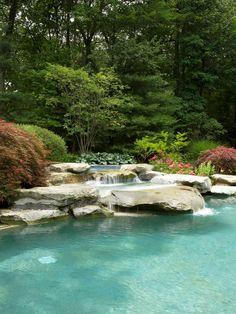 Beautiful Traditional Pool Patio Waterfalls Landscape