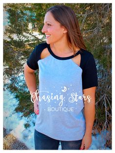 Two-tone cutout tee $30 Purchase here: https://www.facebook.com/chasingstarsboutique/photos/pb.1541773099395870.-2207520000.1428463094./1566187060287807/?type=3&theater