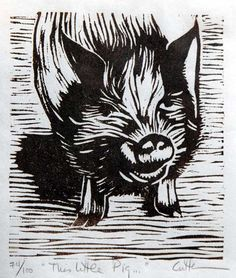 This Little Pig... 63/100 Woodcut (2008) Edition size: 100 Edition number: 63/100 Size: 4.5 x4 (12cm X 10cm) Paper: White Sumi rice paper