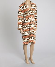 Look what I found on #zulily! Red & Brown Tribal Horses Tie-Waist Robe by EARTH RAGZ #zulilyfinds