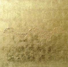 """Ana Peters. """"Sin título"""", 2007. Óleo y pan de oro sobre tela. 50x50 cm"""