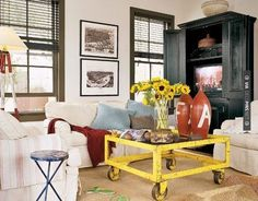 Shabby chic living room with yellow repurposed coffee table Eclectic Living Room, Shabby Chic Living Room, Cottage Living, Living Room Designs, Living Room Decor, Country Living, Cottage Chic, Living Area, Interior Exterior