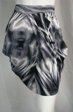 NWT BEBE Black & Gray Vertigo Print Draped Folded Front Silky Stretch Skirt  #Bebe #DrapeFold