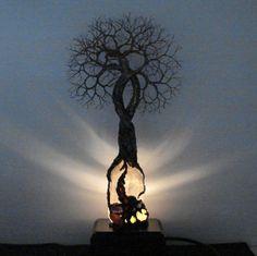 Brazil Quartz Crystal wire Tree Of Life Soul Mate Spirit sculpture Gemstone Lamp Wood base Anniversary Wedding Spring home gift idea art