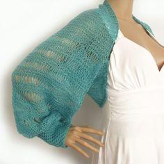 Knit shrug, Loose knit shrug, Knit bolero, Long sleeve shrug, Cropped jacket, Summer shrug, Wedding shrug, Mesh knit trend, Fashion trend