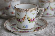 """""""Germany antique Dresden demitasse cup and saucer"""" Koh Kong, Fuat Coconfouato [antique lighting and antique furniture] French antique canister set enameled pottery tableware --kitchen--"""