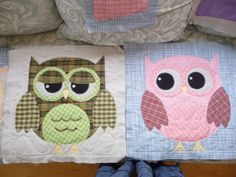 cute appliquéd owl quilt blocks, by sherilyn morris mortensen from the rag-it-up quilts blog