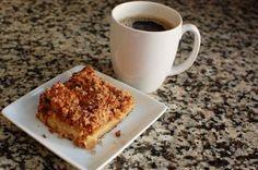 """Rhubarb Coffee Cake """"This rhubarb coffee cake works equally well when served for breakfast, a snack, or dessert (or all three in one day). Rhubarb provides a subtle tartness, while the topping provides a great sweetness and crunchiness."""""""