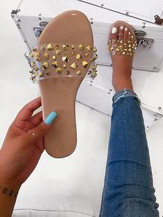 Shoes Flats Sandals, Glitter Sandals, Rhinestone Sandals, Cute Sandals, Shoes Sneakers, Heels, Flat Sandals, Pretty Shoes, Cute Shoes