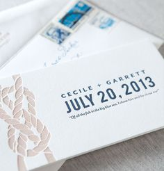 Tiburon nautical letterpress save the date booklet by @Dauphine Press in marine blue and malt