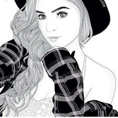 Imagem de girl, outline, and drawing