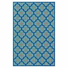 """Anchor your dining set or patio seating group in chic style with this loomed indoor/outdoor rug, showcasing a quatrefoil motif.  Product: RugConstruction Material: PolypropyleneColor: NavyFeatures:  Power-loomedMade in TurkeySuitable for indoor and outdoor use Pile Height: 0.25"""" Note: Please be aware that actual colors may vary from those shown on your screen. Accent rugs may also not show the entire pattern that the corresponding area rugs have.Cleaning and Care: Vacuum without a beater ..."""