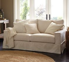 PB Comfort Square Grand Slipcovered Sofa #potterybarn I like the T cushions on the back