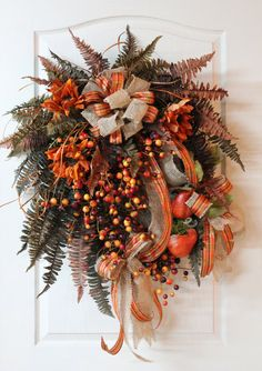 Lg. Fall Front Door Wreath, Beautiful Sunflowers, Crab Apples, Gourds, Burlap and Plaid Bow, Multi-Colored Ferns