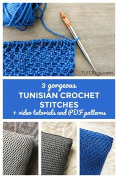 3 Beginner Friendly Tunisian Crochet Stitches - Free Crochet Pattern and Video Tutorial - New Craft Works #Crochet #freecrochet #freecrochetpattern #tunisian-crochet #tunisiancrochet