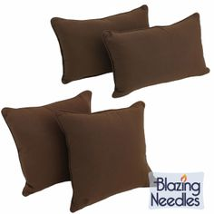 Add style and comfort to your furnishings with the Blazing Needles twill pillow set that features an elegant corded style and removable insert that allows for easy cleaning. This set includes two throw pillows and two back support pillows.
