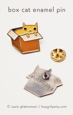 You will receive this enamel pin featuring an adorable drawing of a cat in a box by Susie Ghahremani / boygirlparty.com  This cat pin is made of iron with a brass colored finish and four colors of enamel, this pin measures approximately 1 tall and features a butterfly clasp for easy closure.  Please be advised that this pin is small and therefore not suitable for kids.  Artwork by Susie Ghahremani / boygirlparty ®  To visit my entire illustrated jewelry collection (including more pi...