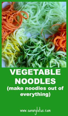 Vegetable Noodles: Includes over 7 kinds of veggie noodle suggestions and grain-free sauce recipes: Sesame Ginger Sauce, Ginger Almond Butter Sauce and Pesto. Healthy Recipes, Clean Recipes, Raw Food Recipes, Vegetable Recipes, Diet Recipes, Healthy Snacks, Vegetarian Recipes, Healthy Eating, Cooking Recipes