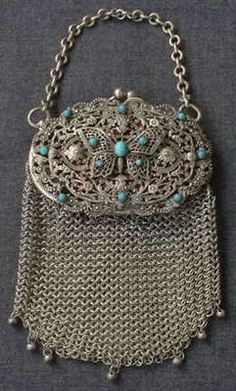 ANTIQUE JEWELED FILIGREE BUTTERFLY METAL MESH PURSE