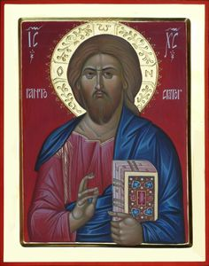 Jesus Christ, orthodox icon hand painted by Bulgarian artist Georgi Chimev.