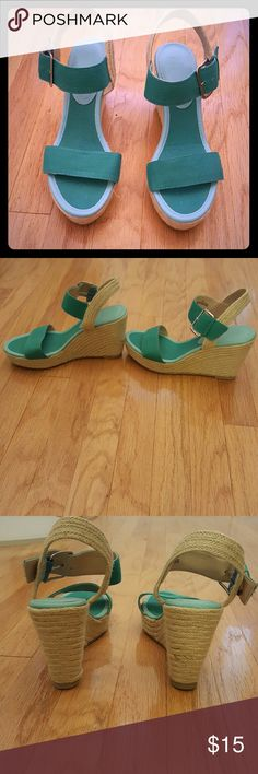 Beautiful Wedges Perfect for Summer green wedge sandals! 4 inch heel. Only worn once. See pictures for excellent condition. New York & Company Shoes Wedges
