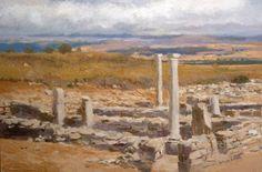 óleo de un paisaje de Soria desde las ruinas de Numancia