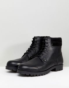 f83733cda7e38b ASOS Lace Up Worker Boots In Black Leather - Black
