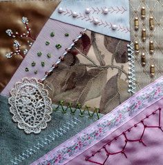 I ❤ crazy quilting, beading & embroidery . . . Cathy's block ~Embellished by Nancy
