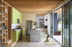 modern kitchen with green cabinets and concrete countersFor this Austin kitchen built on a tight budget, architect Sean Guess opted for inexpensive graded pine plywood so that he would get heavy grain patterns on the surfaces..
