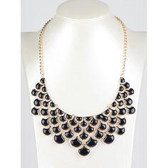 Hollowed Faux Gem Pendant Necklace - $3.88
