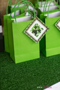Fun favor bags at a Minecraft Birthday Party!   See more party ideas at CatchMyParty.com!