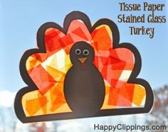 Tissue Paper Stained Glass Turkey- thanksgiving craft idea
