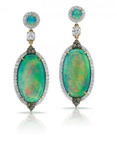 Pamela Huizenga - Opal and Diamond earrings