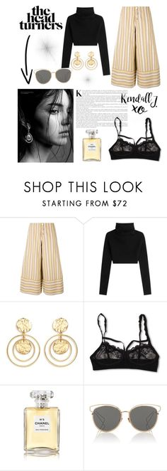 """K"" by xmelissaax ❤ liked on Polyvore featuring See by Chloé, Valentino, Kenneth Jay Lane, Hanky Panky, xO Design, Chanel, Christian Dior, stripes, jenner and kendall"