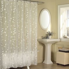 excell metallic ivy pattern clear vinyl shower curtain