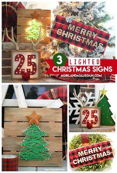 lighted christmas sign 3 ways - Hobby Lobby Christmas Stockings