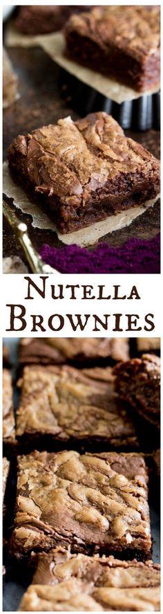 Nutella Brownies -- rich Nutella flavor baked into bars    Sugar Spun Run