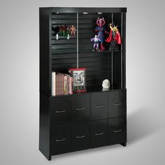 Very cool display cabinet with comic book storage below by   http://geek-design.net