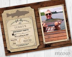 Fishing Birthday Invite Fish Party Rustic Invitation by wowwowmeow