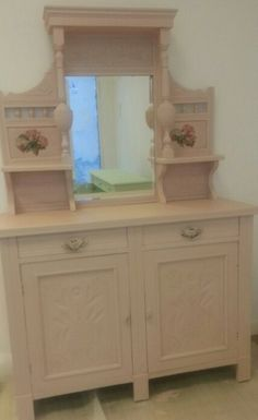 Dresser upcycled using autentico chalk paint- rose - two side mirrors painted with autentico chalk paint and rose decoupage to finish.