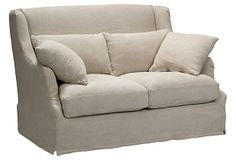 """Sarreid   Bickford Sofa, Wheat Linen   Featuring a high back and neutral wheat linen upholstery, this sofa imbues versatile and classic style, making it the perfect addition to any space   55""""w x 32""""d x 39""""h   3,795.00 retail as shown"""